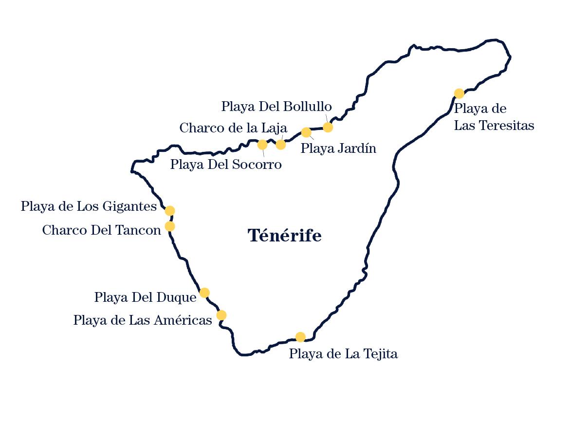 Carte des plages de Ténérife
